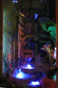 Tiki lighted fountain