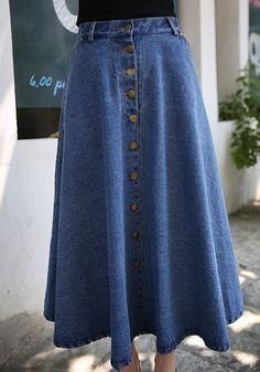 ***Light blue Plain Pleated Button Double Pocket High Waist Denim Jean Skater Maxi Skirt