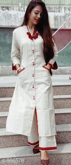 Kurti pant to rock this festive season in style Size Fabric. Khaadi silk Colour Cream Style kurti pant with light thread work on borders and side pockets Kurta Designs Women, Salwar Designs, Kurti Designs Party Wear, Blouse Designs, Dress Designs, Indian Designer Suits, Designer Kurtis, Designer Dresses, Kurtis With Pants