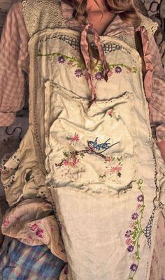 Linen Ms Hana Apron with Hand Embroidery and Lace - Magnolia Pearl $450.00…
