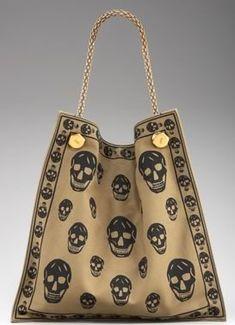 Mr. McQueen's Skull Print Canvas Shopper