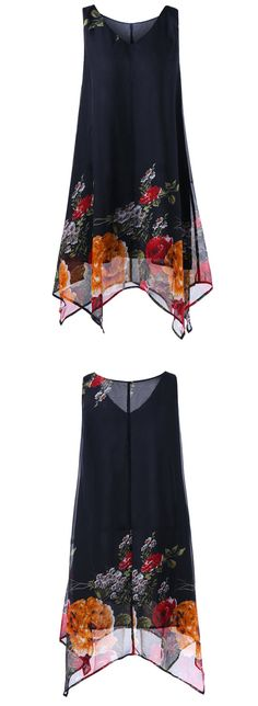 Plus Size Floral V Neck Handkerchief Dress