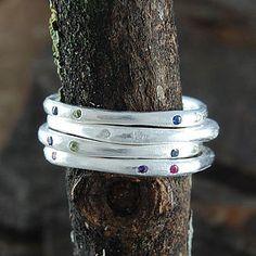 November Birthstone Gemstone Fine Silver Rings - rings