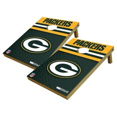 Green Bay Packers Wild Sports Platinum Shield Cornhole Bag Toss Set - 2x3 ft.