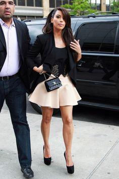 Kim Kardashian style - full skirt with the tuxedo cropped jacket