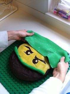 Use green Fondant rectangle for top ninja hat. Use a rolled piece for the nose mask.