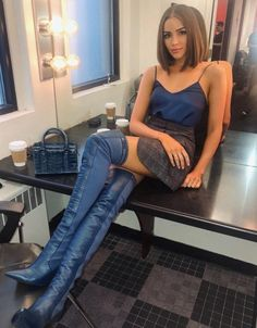 Olivia Culpo in Fendi Celebrity Outfits, Sexy Outfits, Cool Outfits, Celebrity Women, Insta Outfits, Olivia Culpo, Thigh High Boots, Knee Boots, Fashion Boots