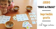 Un juego simple y divertido para que los niños adquieran consciencia fonológica, una capacidad imprescindible para poder leer y escribir. Bingo de las rimas para aprender a diferenciar los sonidos de las palabras. Aprender jugando. Educational Games, Working With Children, Teaching Spanish, Literacy, Language, Place Card Holders, Activities, Kids, Color