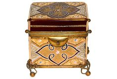 Moser Cranberry & Gold Jewelry Casket