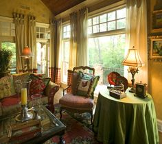 Cozy, Country French and Comfortable, Country French Keeping Room, Living Rooms Design