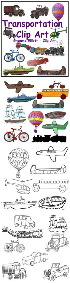 Transportation Clip Art includes 78 graphic clips: a black line clip of these items, at least one color clip for each, and black silhouettes of many of them.   Bike Bicycle Boat Bus Canoe Car – Old fashioned Car - Modern Helicopter Hot Air Balloon Jeep Plane Ship Submarine Train Truck Van - 2 views Vehicles