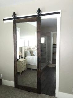 LOVE this mirrored barn door for a master bedroom! -#shoesmen #men #shoes #menshoes