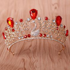 Vintage Bride Hair Accessories Jewelry Elegant Quinceanera Peacock Red Tiaras Wedding Bridal Rhinestone Crystal Pageant Crown