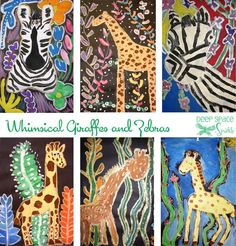 Whimsical-Giraffes-and-Zebras-Art-Lesson  I love how different they are...  use for any animal or insect.