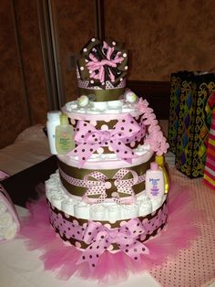 Pink and brown diaper cake with tutu skirt for the baby