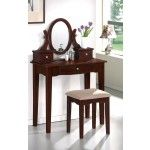 Poundex Furniture - Dark Charry Vanity With Stool - F4056  SPECIAL PRICE: $369.00