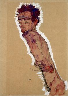 Egon Schiele | Aktselbstbildnis | 1910 | © Albertina, Wien  #art #EgonSchiele #ModernArt #Schiele