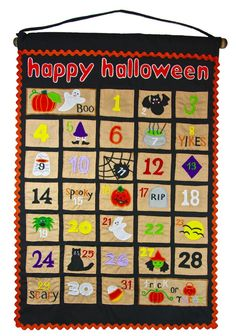 """A fun and delightful way for little ones to count down the days until Halloween!  Tuck a treat or note into each pocket and then the kids can answer """"how many more days until. . . """"  Handmade cloth calendar by My Growing Season."""