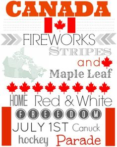 Canada Day Free Printable #canada #july-1st #stripes #fireworks #maple-leaf #red & white #freedom #Canuck #hockey #parade #home