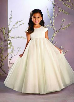 d5bc7c35f6a Alfred Angelo Style glitter and tulle floor length ball gown flower girl  dress + choose to add on stunning dress accessories such as overlays