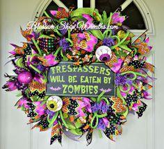 Halloween Wreath, Zombie Wreath, Halloween Decor, Fall Wreath, Door Wreath by BlossomShopWreaths on Etsy