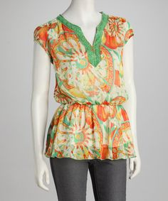 Take a look at this Tangerine & White Graphic Tunic by Young Threads on #zulily today! $18 !!