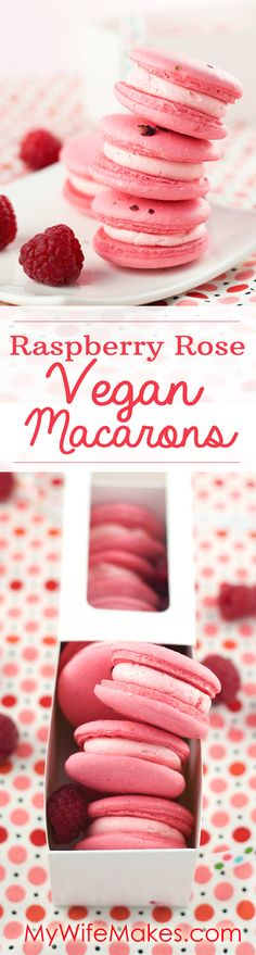 Delicious, fruity, and creamy Raspberry Rose Vegan Macarons made with Aquafaba. VEGAN | GLUTEN FREE #vegan #glutenfree #macarons #frenchmacarons #aquafaba #chickpeabrine #veganrecipe #dessert #raspberry #rose #food #foodie