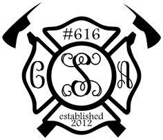 Cory  Abbys Firefighter wedding monogram.  Love it!    From Vinyl Chatter in Newnan, GA