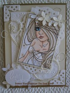 "It's time for another fabulous challenge at The East Wind and this time our theme is ""Bride of May"". I have chosen the gorgeou. Congratulations On Marriage, East Wind, Pretty Cards, Beautiful Bride, I Card, Cardmaking, Daisy, Challenges, Paper Crafts"