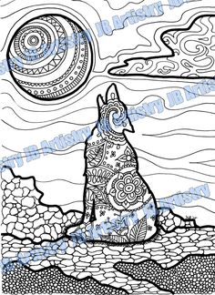 Coloring Page Wolf by JBArtistryShop on Etsy