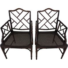 Charmant Pair Of Faux Bamboo Chippendale Arm Chairs (unfortunately Sold)