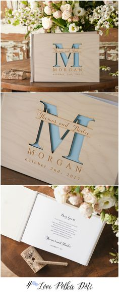 Wooden Wedding Guest Book with custom engraving #weddingideas #blue #weddingtheme #weddingcolors #guestbook #weddingbook #gift #rustic #country