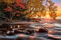 Photograph Hurricane River Sunset by Steve Perry on Photography Basics, Autumn Photography, Pictured Rocks National Lakeshore, Picture Rocks, Out Of The Woods, Down The River, Autumn Scenes, Steve Perry, Fall Photos