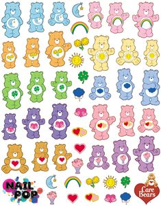 Image of Care Bears X Nail Pop Water Slide Decals Stickers Kawaii, Cute Stickers, Journal Stickers, Planner Stickers, Nail Pops, Care Bears, Nail Decals, Aesthetic Stickers, Indie Kids