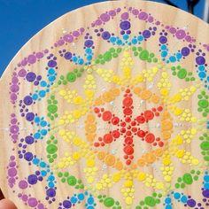 Fleur de Vie artisanale en bois Ø 21 cm peint à la main avec rayon argent géométrie sacrée pour dynamiser eau aliments habitat chakras etc.