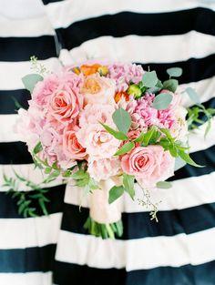 pink wedding bouquet, photo by Ashley Goodwin http://ruffledblog.com/kate-spade-inspired-wedding-in-hawaii #weddingbouquet #flowers #bouquets