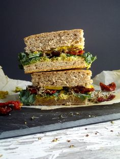 Chickpea Salad Sandwich. Behold the tower of sandwich!