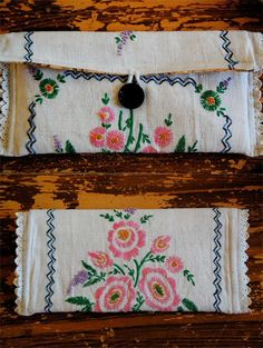 DIY clutch from a vintage tablecloth. It would also be cute to make it into a makeup bag.