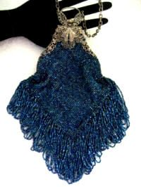 Smart Antique Silver Filigree Butterfly Frame Tan Crochet Blue Glass Bead Fringe Purse Periods & Styles Vintage Accessories