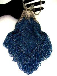 Smart Antique Silver Filigree Butterfly Frame Tan Crochet Blue Glass Bead Fringe Purse Vintage Antiques