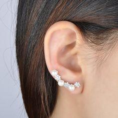 Infinite U Women's Elegant 925 Sterling Silver Cubic Zirconia Pearls Stars Ear Cuffs Sweep Hoop Studs Earrings Silver: Amazon.ca: Jewelry