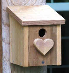 Share the Love  All Cedar Birdhouse with Heart Wren by gardenfinds, $27.50