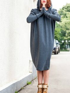 Gray Long Sleeve Hand Made Wool Blend Tunic