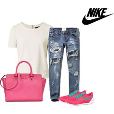 my nike set by ramayanna on Polyvore featuring polyvore, fashion, style, Abercrombie & Fitch, NIKE and Michael Kors