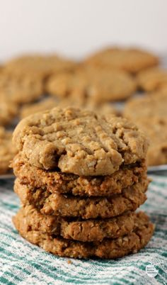 Flourless Peanut Butter Oat Cookies (Vegan, Gluten Free, Dairy Free)   by Renee's Kitchen Adventures - Great recipe for a vegan peanut butter cookie!  So yummy, you won't be able to stop with one!