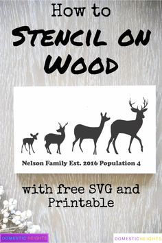 How to Stencil on Wood without Bleeding – DOMESTIC HEIGHTS stencil on wood, free svg and printable template, DIY home decor wood sign Stencil Wood, Stencil Fabric, Stencil Painting, Painting On Wood, Wooden Signs With Sayings, Wood Signs, Painted Wooden Signs, How To Make Stencils, Free Stencils