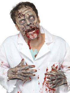 Kit lattice zombie maschera e mani adulto Halloween: Questo kit da zombie per adulti è composto da una mezza maschera e un paio di guanti.La mezza maschera in lattice rappresenta la parte alta del viso di una zombie la cui bocca è... #halloween #maschere #halloweenmaschere