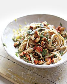 Whole-wheat pasta and toasted almonds give this dish a rustic, hearty texture and a delicious, savory flavor.