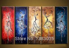 Hand Painted Modern Abstract Women Ballet Painting Wall Art Dance Oil Picture 5 Panels Canvas Decor Sets-in Painting & Calligraphy from Home & Garden on Aliexpress.com | Alibaba Group