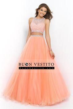 2015 Dos Piezas Bateau blusa moldeada A / Princesa vestido de fiesta Pick Up Longitud de Tulle de la falda del piso